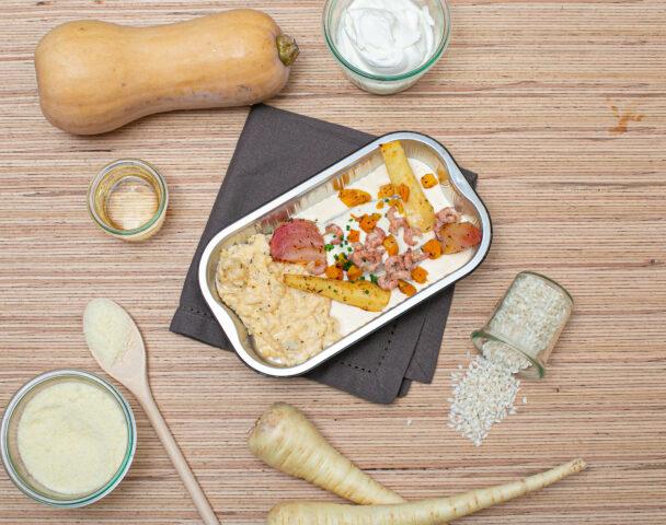Colin vapeur, risotto de crevettes grises, légumes racines