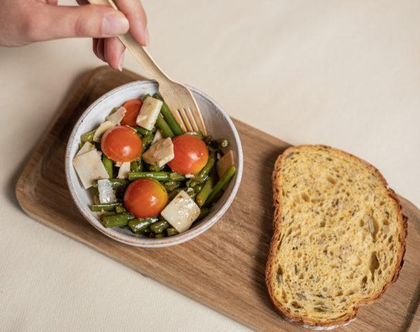 Petite salade haricots verts, grana padano